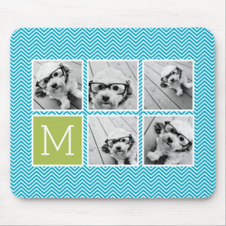 Aqua and Lime Instagram 5 Photo Collage Monogram Mouse Pad