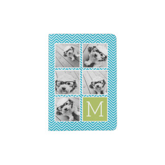 Aqua and Lime Instagram 5 Photo Collage Monogram Passport Holder