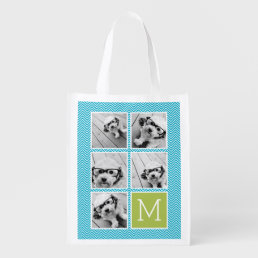 Aqua and Lime Instagram 5 Photo Collage Monogram Reusable Grocery Bag