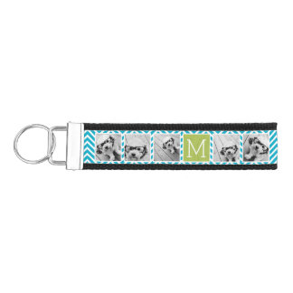 Aqua and Lime Instagram 5 Photo Collage Monogram Wrist Keychain