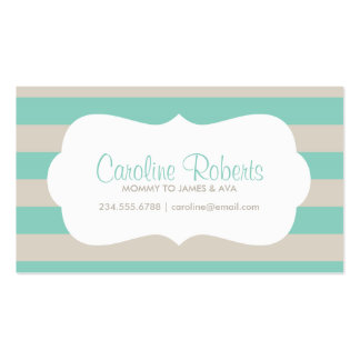 Aqua and Linen Modern Stripes and Dots Business Card Template