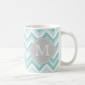 Aqua and Marine Blue Chevron with Mongram Classic White Coffee Mug