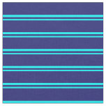 [ Thumbnail: Aqua and Midnight Blue Colored Pattern of Stripes Fabric ]