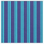 [ Thumbnail: Aqua and Midnight Blue Lined Pattern Fabric ]