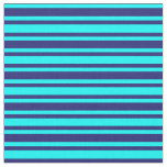 [ Thumbnail: Aqua and Midnight Blue Stripes/Lines Pattern Fabric ]