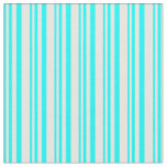 [ Thumbnail: Aqua and Mint Cream Lined/Striped Pattern Fabric ]