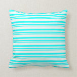 [ Thumbnail: Aqua and Mint Cream Lined/Striped Pattern Pillow ]