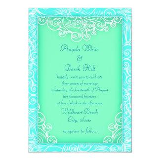 Aqua and Mint Waves Green Beach Wedding Card