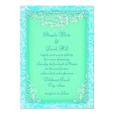 Beach Themed Aqua and Mint Waves Green Beach Wedding Card