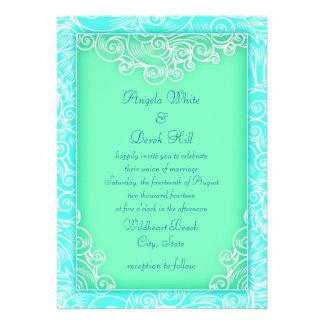 Aqua and Mint Waves Green Beach Wedding Custom Invite