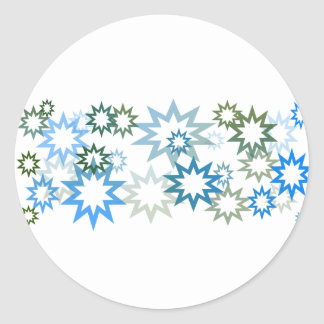 Aqua and Moss Stars Classic Round Sticker