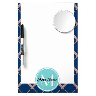 Aqua and Navy Baseball Bat Custom Monogram Dry Erase Board With Mirror