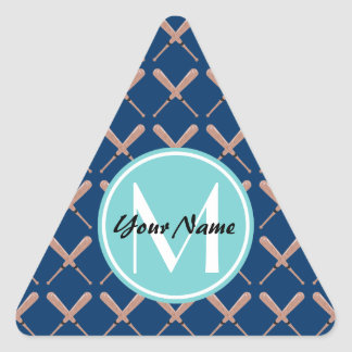 Aqua and Navy Baseball Bat Custom Monogram Triangle Sticker