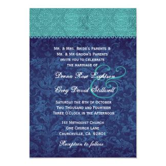 Aqua and Navy Blue Damask Two Tone Wedding V326 V2 Card