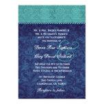 Aqua and Navy Blue Damask Two Tone Wedding V326 V2 Invitation