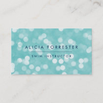 Aqua and Navy Bokeh Pattern Business Card