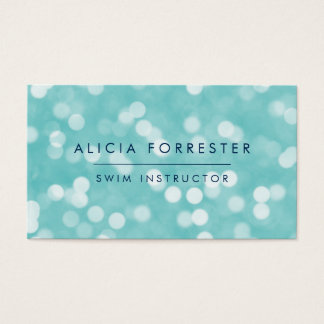 Aqua and Navy Bokeh Pattern Business Card