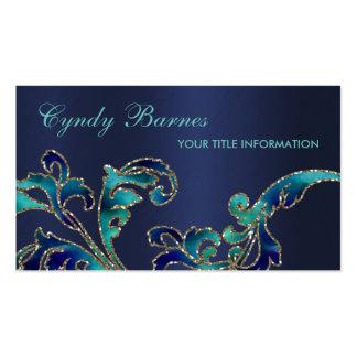 Aqua and Navy Damask Business Card