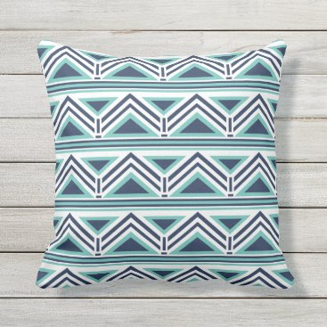 Aztec Themed Aqua and Navy Modern Aztec Pattern Outdoor Outdoor Pillow