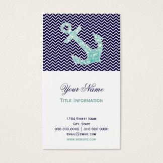 Aqua and Navy Nautical Glitter Sparkles Anchor Business Card
