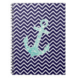 Aqua and Navy Nautical Glitter Sparkles Anchor Spiral Notebook