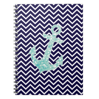 Aqua and Navy Nautical Glitter Sparkles Anchor Notebook