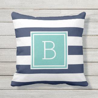 Aqua and Navy Stripe Monogram Outdoor Throw Pillow