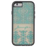 Aqua and Off White Fancy Damask Pattern Tough Xtreme iPhone 6 Case