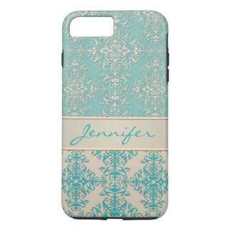 Aqua and Off White Fancy Damask Pattern iPhone 7 Plus Case