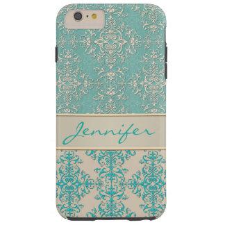 Aqua and Off White Fancy Damask Pattern Tough iPhone 6 Plus Case
