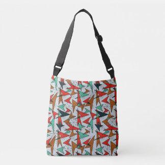 Aqua and Orange, Atomic Arrows, Fifties Pattern Crossbody Bag