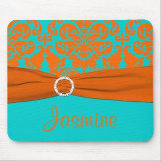Aqua and Orange Damask Mousepad