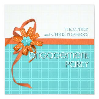 Aqua and Orange Floral Ribbons Custom Engagement Card