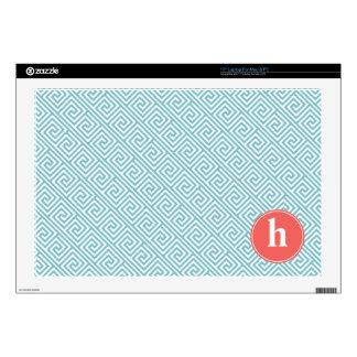 Aqua and Orange Greek Key Pattern Monogram Skin For Laptop