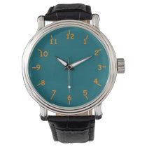 Aqua and Orange Numbers Wristwatch