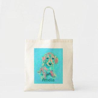 aqua and peach dachshund tote