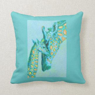 aqua and peach giraffes pillow