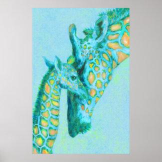 aqua and peach giraffes posters