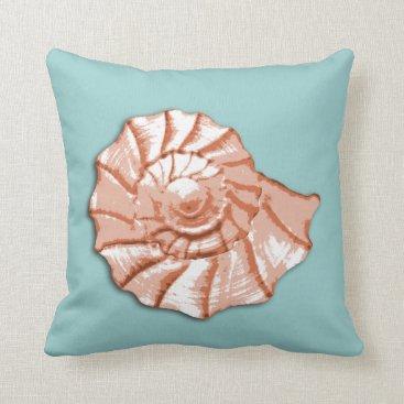 Beach Themed Aqua and Peach Seashell Throw Pillow