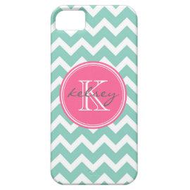 Aqua and Pink Chevron Custom Monogram iPhone 5 Cases