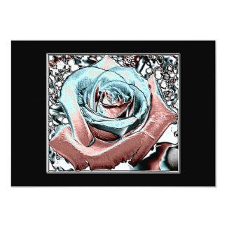 "Aqua and Pink ""colored foil"" rose Card"