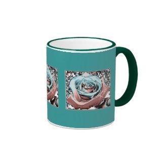 "Aqua and Pink ""colored foil"" rose Coffee Mugs"