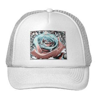 "Aqua and Pink ""colored foil"" rose Mesh Hat"