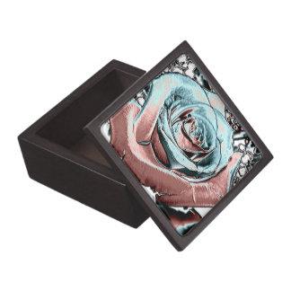 "Aqua and Pink ""colored foil"" rose Premium Gift Box"