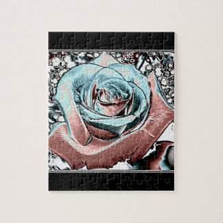 "Aqua and Pink ""colored foil"" rose Puzzles"