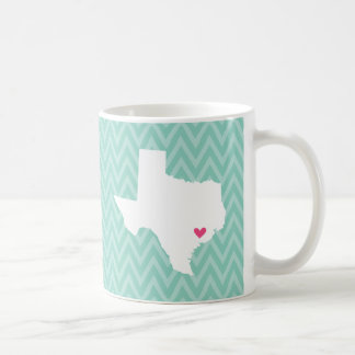 Aqua and Pink Cute Texas Love Coffee Mugs