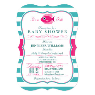 Aqua And Pink Fish Baby Shower Invitation
