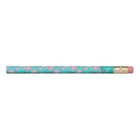 Aqua and Pink floral monogram Pencil
