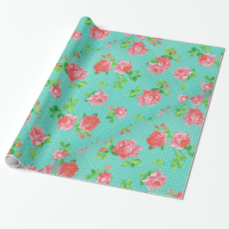 Aqua and Pink Floral Print Wrapping Paper