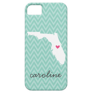Aqua and Pink Florida Love Chevron Monogram iPhone SE/5/5s Case